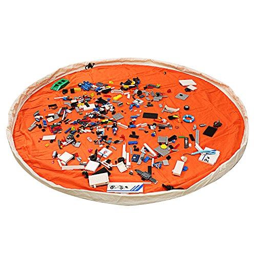 LEADSTAR Kinder Spielmatte Aufräumsack Spieldecke Spielzeug Speicher Tasche 150cm Segeltuch Material - Orange