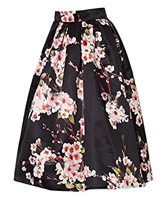 Enlishop Women's Elegant Floral Printing High Waist Bubble Skirt S Black