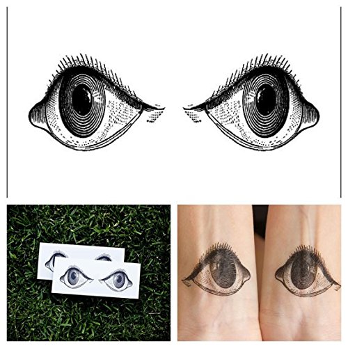 Tattify Eyeball Temporary Tattoo - Crazy Eyes (Set of 2) - Other Styles Available - Fashionable Temporary Tattoos - Long Lasting and Waterproof ()
