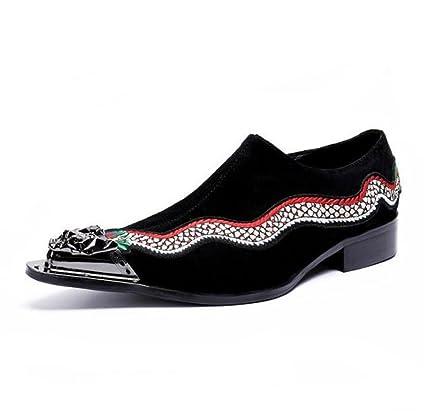 NANXIE Zapatos de Hombre Mocasines Terciopelo Negocio Formal Puntera de Metal Espectáculo Club Nocturno Acento irlandés