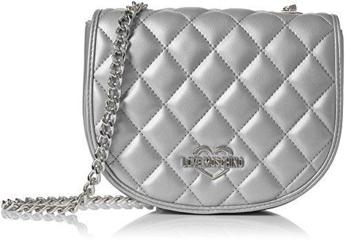 Moschino baguette Metallic Silver Plateado Mujer Pu Borsa H x Quilted cm T Argento Bolsos 6x16x20 B Love 0xqnCdwtv0