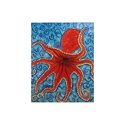 Amazon.com: Red Octopus Decorative Ceramic Wall Art Tile 4x4: Home ...