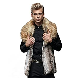 JTENGYAO Men's Faux Fur Coat Fur Vest Winter Parka Coat sleeveless jacket,Brown,X-Large