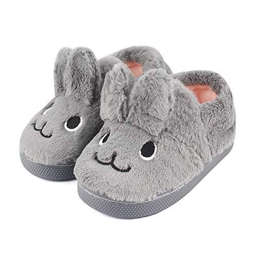 MK MATT KEELY Toddler Girls Bunny Slippers Winter Warm Shoes Rabbit House Soft Slippers Grey