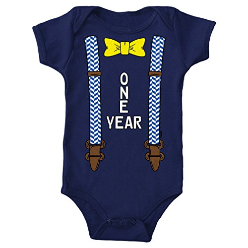 Tcombo 1 Year - Bowtie and Suspenders - Anniversary Bodysuit (12 Months, Navy Blue)