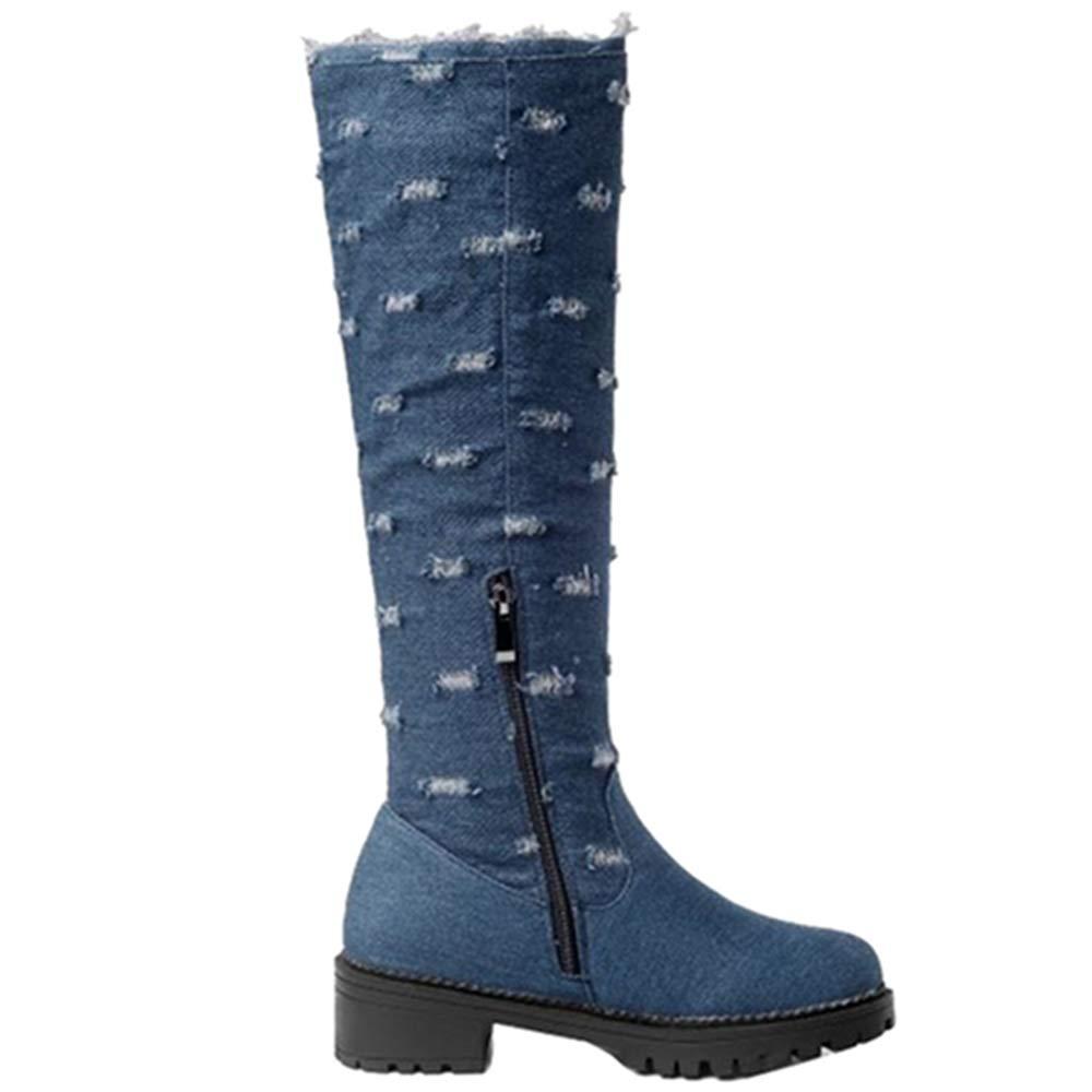 CUTEHEELS Women Mid-Calf Jean Boots
