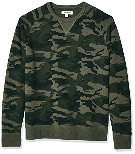 Goodthreads Men's Crewneck Fleece Sweatshirt, Green Camo Small ()