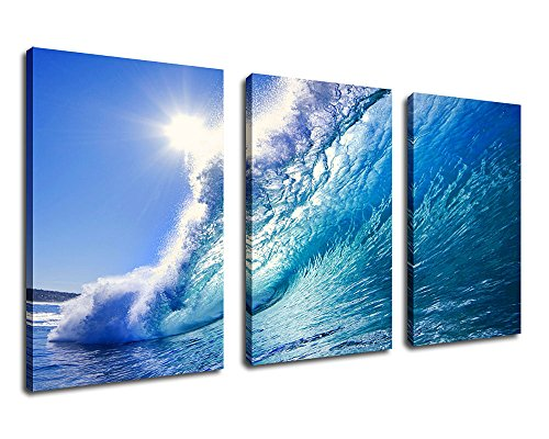 Waves Surfing Wall Decor Blue Ocean Canvas Artwork