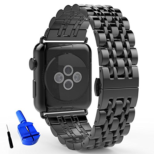 Clasp One (HUANLONG New Solid Stainless Steel Metal Replacement 7 Pointers Watchband Bracelet with Butterfly Clasp for Apple Watch Iwatch Series 1 Series 2 (LS 38mm Black))