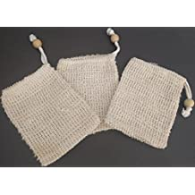 Soap Saver Pouch 3-pack for Shower, Bath and Body works to Conserve Bar Soap and Exfoliate skin. Cambric Fiber is More Gentle than Sisal. SeaSationals Brand, the Natural Fiber Experts.