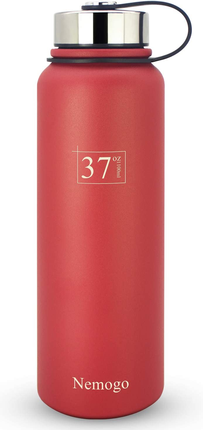 Nemogo 37oz Stainless Steel Water Bottle - Double Walled, Vacuum Insulated, Wide Mouth, Sport Design Idea for Hiking, Camping, and Everyday Use