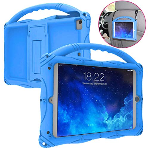 Kids Case for iPad Mini 5 4 3 2 1, Adocham Lightweight and Full-Body Shockproof Silicone Case Cover with Built-in Foldable Kickstand and Grip Handle for iPad Mini,Comes with a Strap(Blue)
