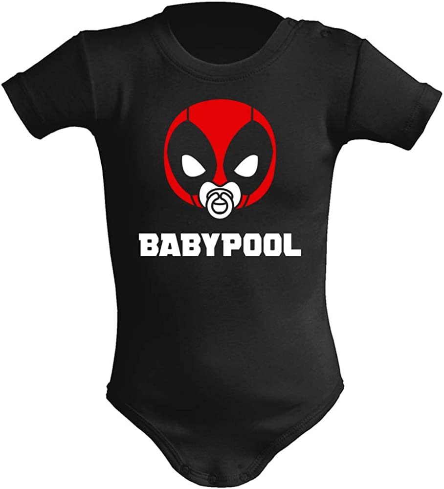 Body bebé unisex Babypool. Parodia Deadpool. Super héroes. Regalo original. Body bebé divertido. Manga corta.