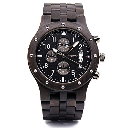 (Bewell W109D Sub-dials Wooden Watch Quartz Analog Movement Date Wristwatch for Men(Black Sandalwood))
