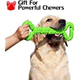 Hipat Durable Dog Chew Toy for Powerful Chewers Large Medium Dogs, 13 Inch Large Solid Rubber Chew Toy with Soft Massaging Surface for Tooth Cleaning, Interactive Dog Tug Toy
