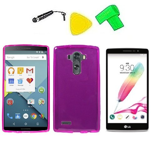 TPU Flexible Skin Phone Cover Case Cell Phone Accessory + Extreme Band + Stylus Pen + LCD Screen Protector + Yellow Pry Tool For LG G Stylo LS770 / LG G4 Stylus H631 (Frost Pink)