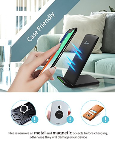 Wireless Charger, Seneo Qi Certified 10W Fast Wireless Charger Stand for Galaxy S9/S9+ Note 8/5 S8/S8+ S7/S7 Edge S6 Edge+, 7.5W Fast Wireless Charging Pad Stand for iPhone X/8/8+(with QC 3.0 Adapter) by Seneo (Image #4)