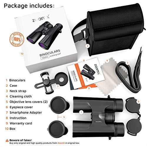 ZoomX Binoculars for Adults. 10×42 Waterproof Lightweight Compact Binocular Prism Bak4. HD Binocular for Bird Watching Hunting Traveling and Sightseeing with Smartphone Adapter, Grey