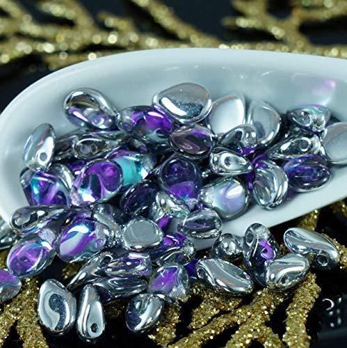 (60pcs Silver Purple PIP Beads Czech Glass PIP Preciosa PIP Beads Czech Flower Flat Flower Petal Beads 5mm x 7mm)