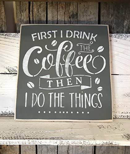 """Sign FREE POST Wooden Rustic Funny Plaque /""""DRINK COFFEE/"""""""