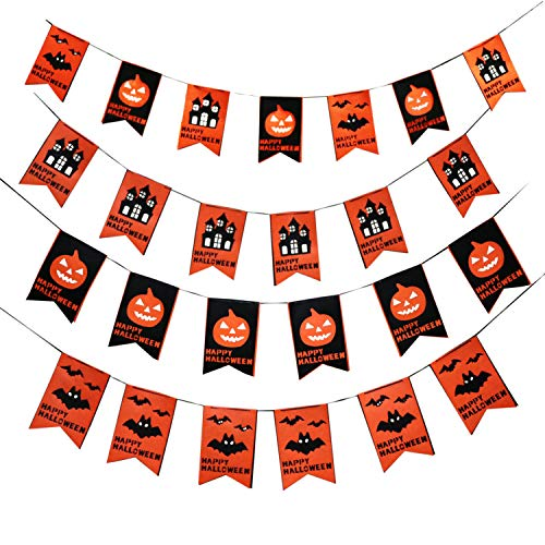 Halloween Party Decorations of DIY Happy Halloween Banner,Halloween Creepy Creatures Hanging Swirl Ceiling Decorations, fr Halloween Trick Or Treat Scary Party Supplies 18 pcs