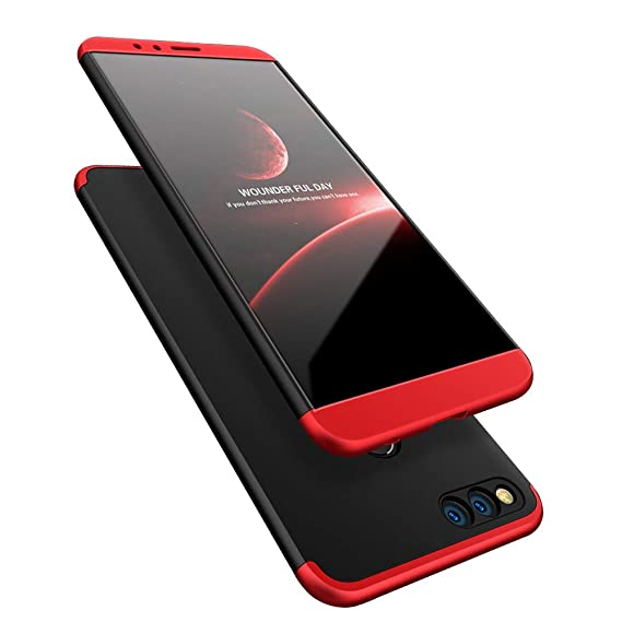 super popular a644a d6ff6 TheGiftKart Full Body 3-in-1 Slim Fit Complete 3D 360 Degree Protection  Hybrid Hard Bumper (Black Red) for Honor 7X