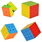 HiDven Stickerless Cube Puzzle Bundle Pack Speed Cube Standard Color Smooth Sequential Puzzle Toy