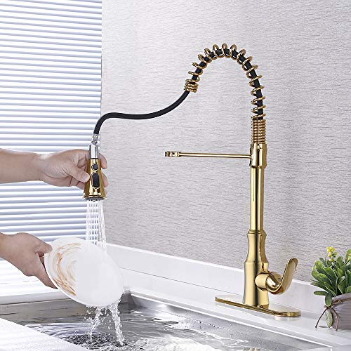 KES cUPC NSF Certified BRASS Singel Handle Pull Down Kitchen Faucet with Retractable Pull Out Wand, High Arc Swivel Spout, Titanium Gold, L6936BLF-PG by Kes (Image #2)
