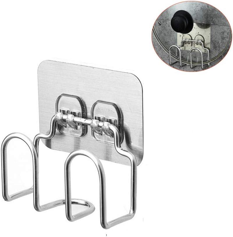 Soporte para tapa de olla – Tabla de cortar cuchillo organizador – Armario de acero inoxidable perforado montado en la pared para cocina, baño, sala de estar, juego de 2 (plata) Sticker