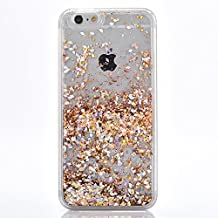 iPhone 5 Case, TIPFLY iPhone 5s Liquid Glitter Case, 3D Creative Design Shiny Quicksand Flowing Bling Glitter Sparkle Heart Clear Hard Case for Apple iPhone 5/5s/SE - Golden Diamonds