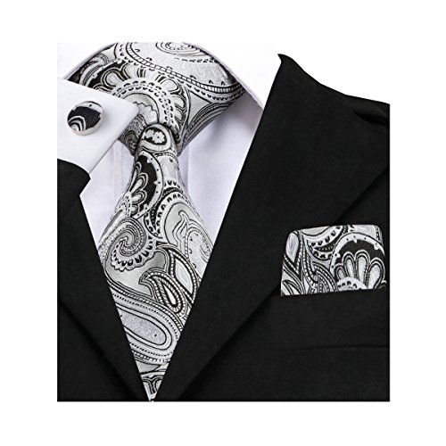 Tie Squares (Barry.Wang Grey Ties Business Party Necktie and Handkerchief Set)