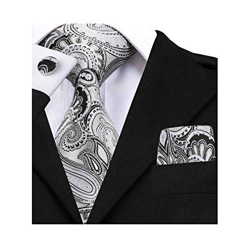 Handkerchief Set Necktie - Barry.Wang Grey Ties Business Party Necktie and Handkerchief Set