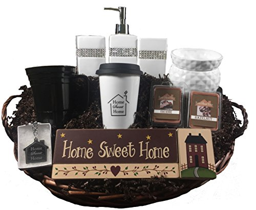 Housewarming Gift Basket - 8 Piece Gift Set with Coffee Tumbler and Candle Warmer
