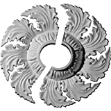 "Ekena Millwork CM14NE2-03500 14 5/8""OD x 3 1/2""ID x 2 1/4""P Needham Ceiling Medallion, Fits Canopies up to 4-1/4"", 2 Piece"