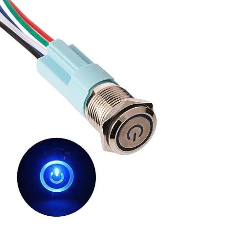 TOOHUI® 12V 16mm Momentáneo Pulsador de Botón Metálico Interruptores, Interruptor Pulsador de Metal Momentáneo, ON/OFF Pulsador Acero Inoxidable ...