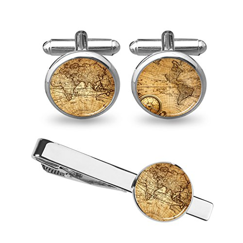 ZUNON World Map Cufflinks Wedding Personalised Gifts for Father Grandfather Dad Tie (World map Cufflinks and Tie Clip Silver)