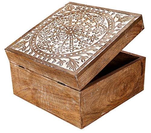Storage Chest Decorative (Indian Artisan, Handmade & Handcrafted Wooden Jewelry Box, Jewelry Storage Organizer, Wooden Treasure Box, Vintage Treasure Chest Box, Vintage Style Wood Decorative Nesting Boxes Set of 3- White Wash)