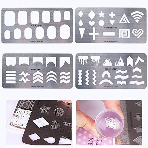 BORN PRETTY Stamping Guide Templates Stainless Steel Full French Nail Tips Star Heart Cross 4 Patterns