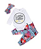 Kyпить Baby Girls Little Sister Bodysuit Tops Floral Pants Bowknot Headband Outfits Set (12-18 Months, Style 4) на Amazon.com