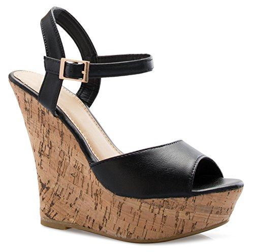OLIVIA K Women's Open Toe High Wedge Platform Heel Wood Decoration Flip Flop Slipper Shoes Sandals