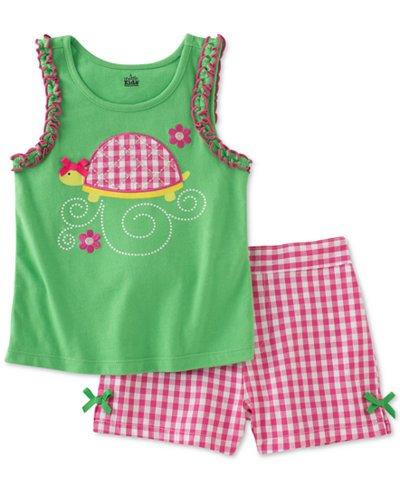 Kids Headquarters Infant Girls 2 PC Turtle Shirt & Gingham C