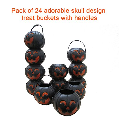 24 Treat Yourself Realistic Pumpkin Sweet Holder Jar with Handles - Candy Goody 2.5 Inches Mini Halloween Memorable Bag -