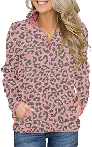 BETTE BOUTIK Women Casual Pullover Sweatshirts Zip Neck Funnel Tops Long Sleeve Plain Leopard Top with Pockets