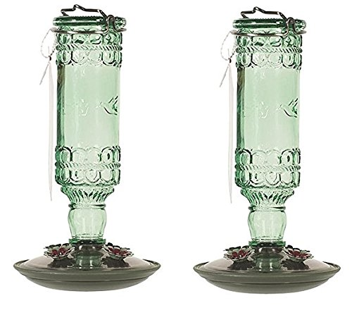 Home Intuition Antique Glass Hummingbird Feeder Green 10 oz Bottle, 2 (Green Antique Bottle)
