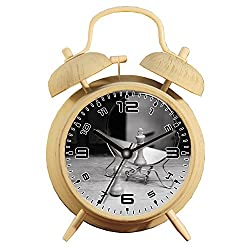 Table Alarm Clock with Backlight, Battery Operated Travel Clock, Round Twin Bell Loud Alarm Clock (Individual Pattern)368.Grayscale Photo of Reversible Mirror in Front of Chess Piece