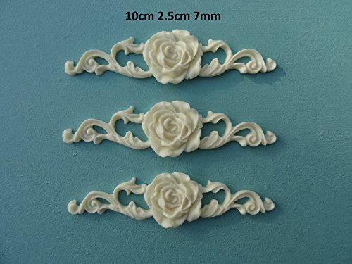 Decorative Rose on Ornate Scrolls x 3 Applique onlay Furniture Moulding RS1X3