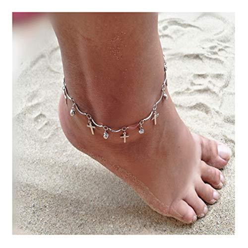 (Little sheep Sterling Silver Cross Crystal Anklets for Women Adjustable Foot Ankle Bracelet )