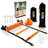 Bltzpro AGILITY LADDER with SOCCER CONES-A Fitness Training Gear used by Athelets & Coaches for teams sports.15ft long| Adjustble Rungs| 12 Cones| 2 Carry Bags| 4 pegs |footwork drills ebook