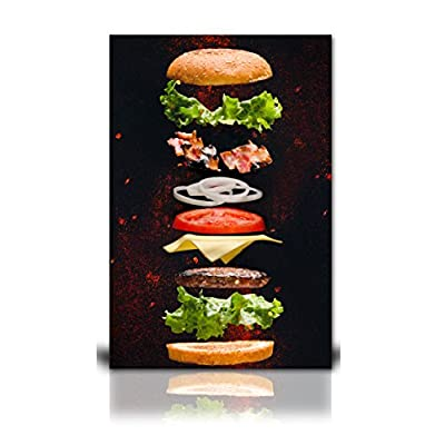Canvas Wall Art - Exploded View of Burger Ingredients - Giclee Print Gallery Wrap Modern Home Art Ready to Hang - 24