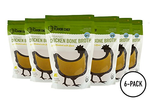 USDA Certified Organic Chicken Bone Broth by The Flavor Chef | 6 Pack - 24 Ounces Per Pack | Frozen Fresh, High Gelatin and Collagen, Paleo (Flavor Broth Powder)